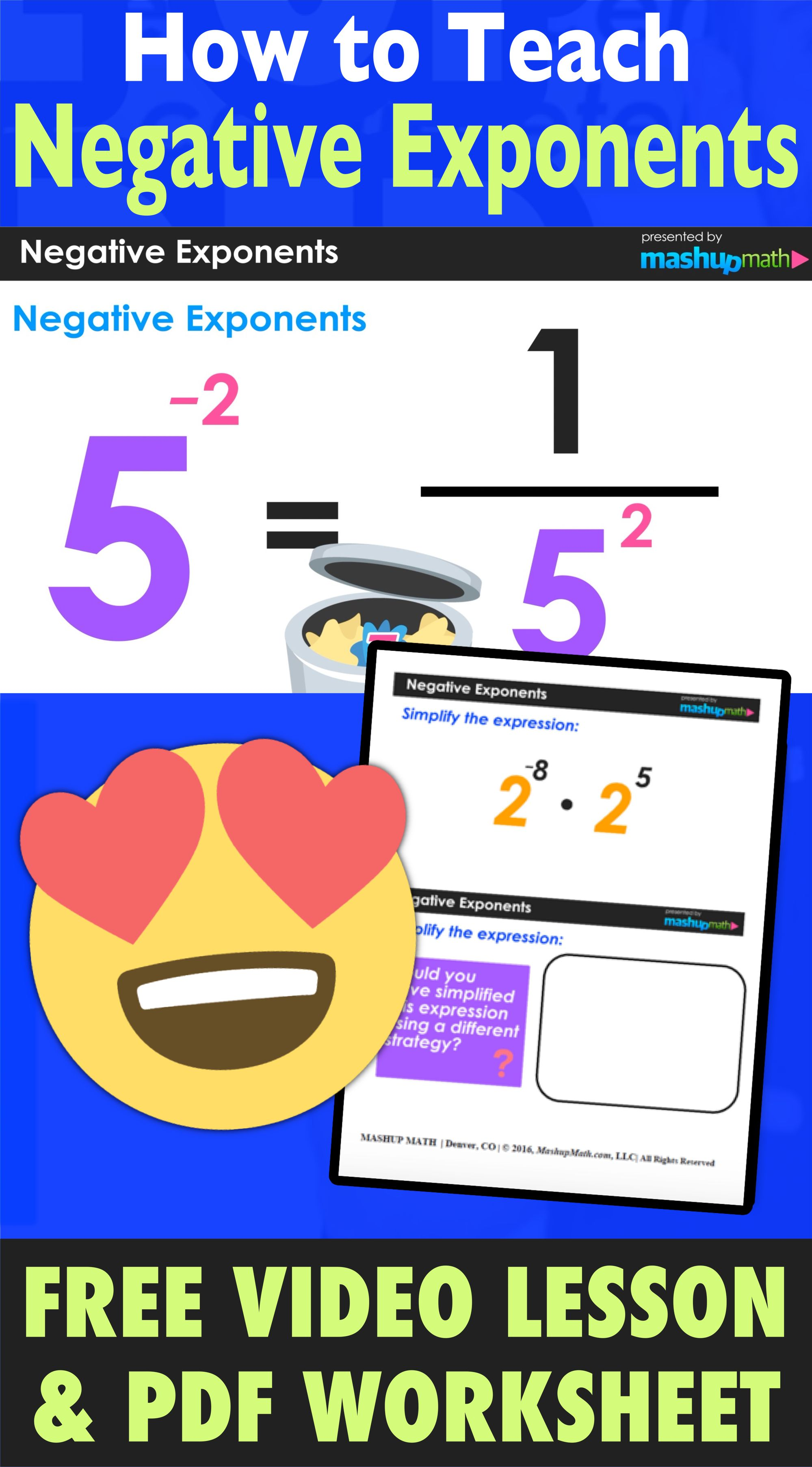 You Can Use Our Free How To Teach Negative Exponents Video Lesson And Free Worksheet To Help Your Visual Lea Exponent Worksheets Negative Exponents Exponents [ 3611 x 1999 Pixel ]