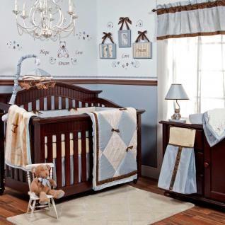 Boy Nursery Bedding Blue Cream Brown Bows Modern Baby Boy Nursery Crib Bedding Set Baby Bed Crib Bedding Boy Baby Crib Bedding