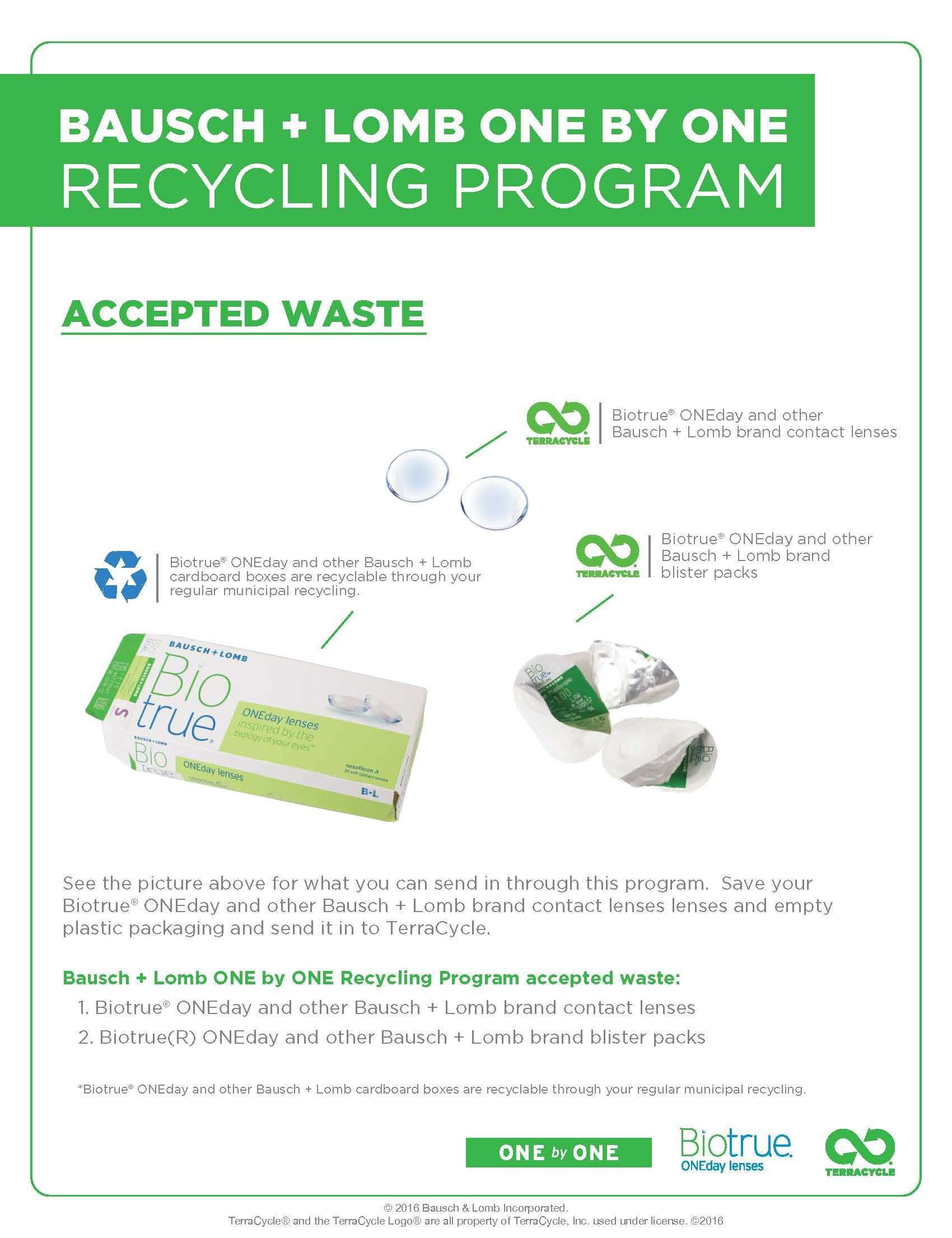 0c548d358c716 Accepted Waste for the Bausch + Lomb ONE by ONE Recycling Program ...