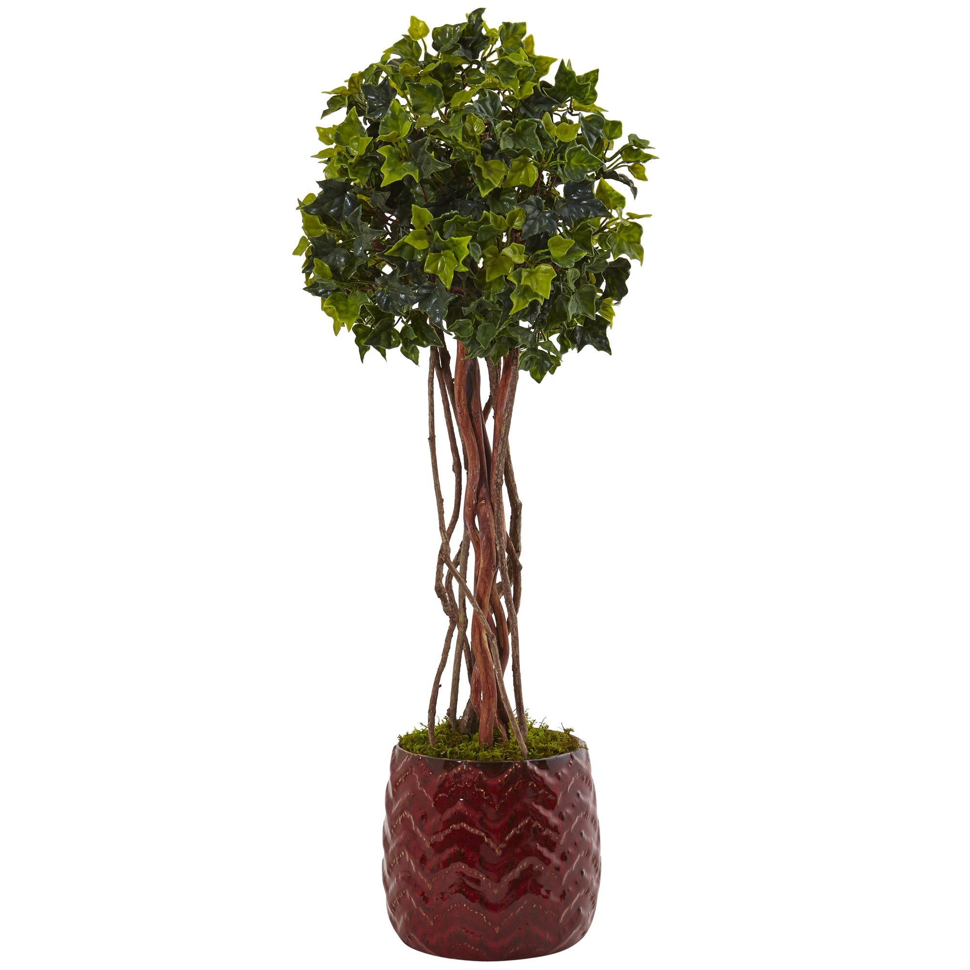 Outdoor Topiary Trees With Lights 25 h english ivy tree in red planter uv resistant indooroutdoor 25 h english ivy tree in red planter uv resistant indooroutdoor workwithnaturefo