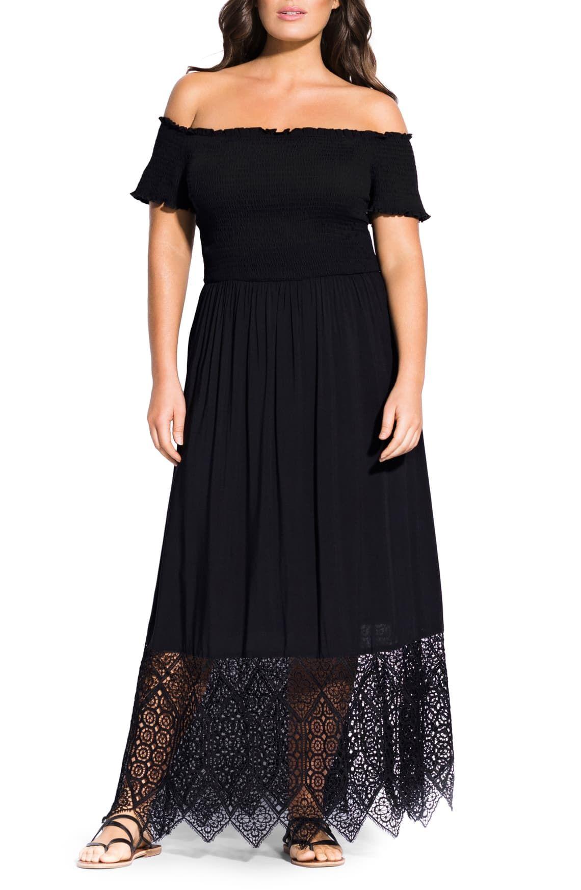 City chic off the shoulder maxi dress plus size