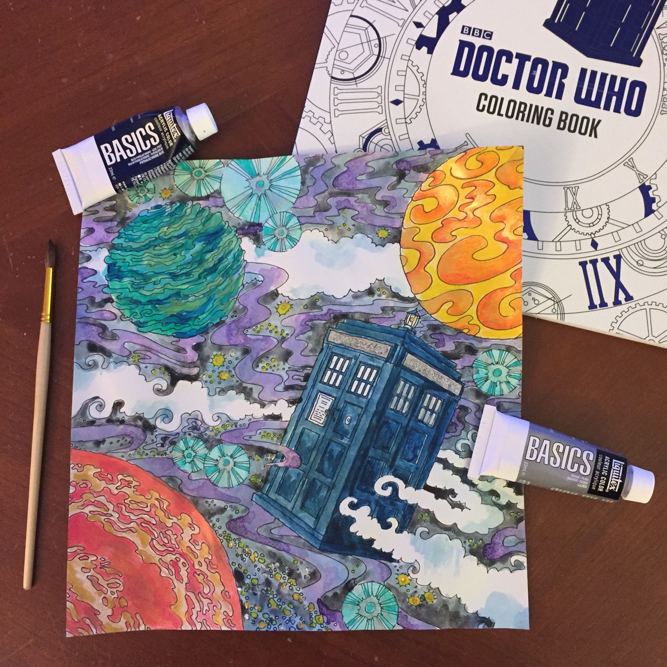 Painting Of The TARDIS From Doctor Who Coloring Book Its Bigger On Inside