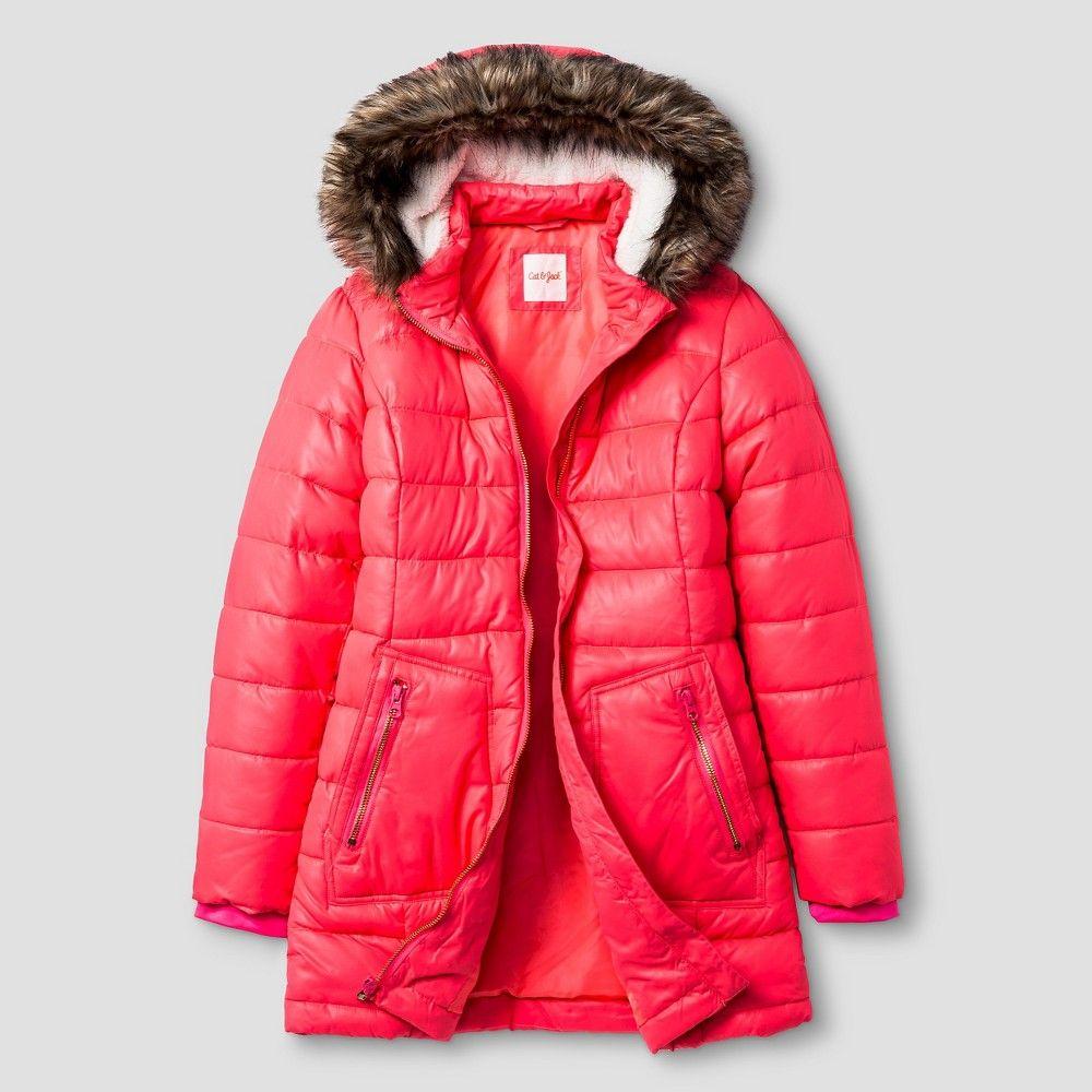 d498cc0eee00 Girls  Long Puffer Jacket Cat   Jack - Pink S