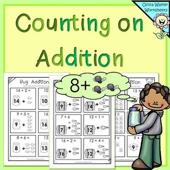 counting on addition strategy worksheets printables to teach adding teaching addition. Black Bedroom Furniture Sets. Home Design Ideas