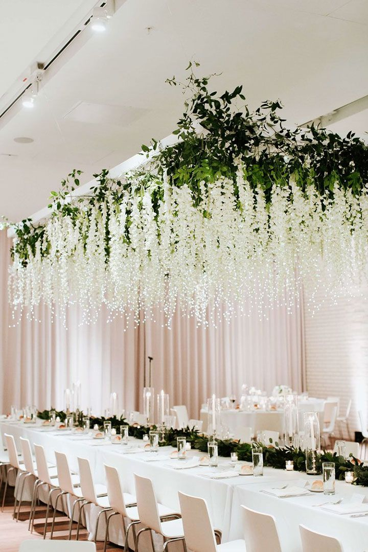 Most Magical Hanging Floral Installation With Fairy Lights ...