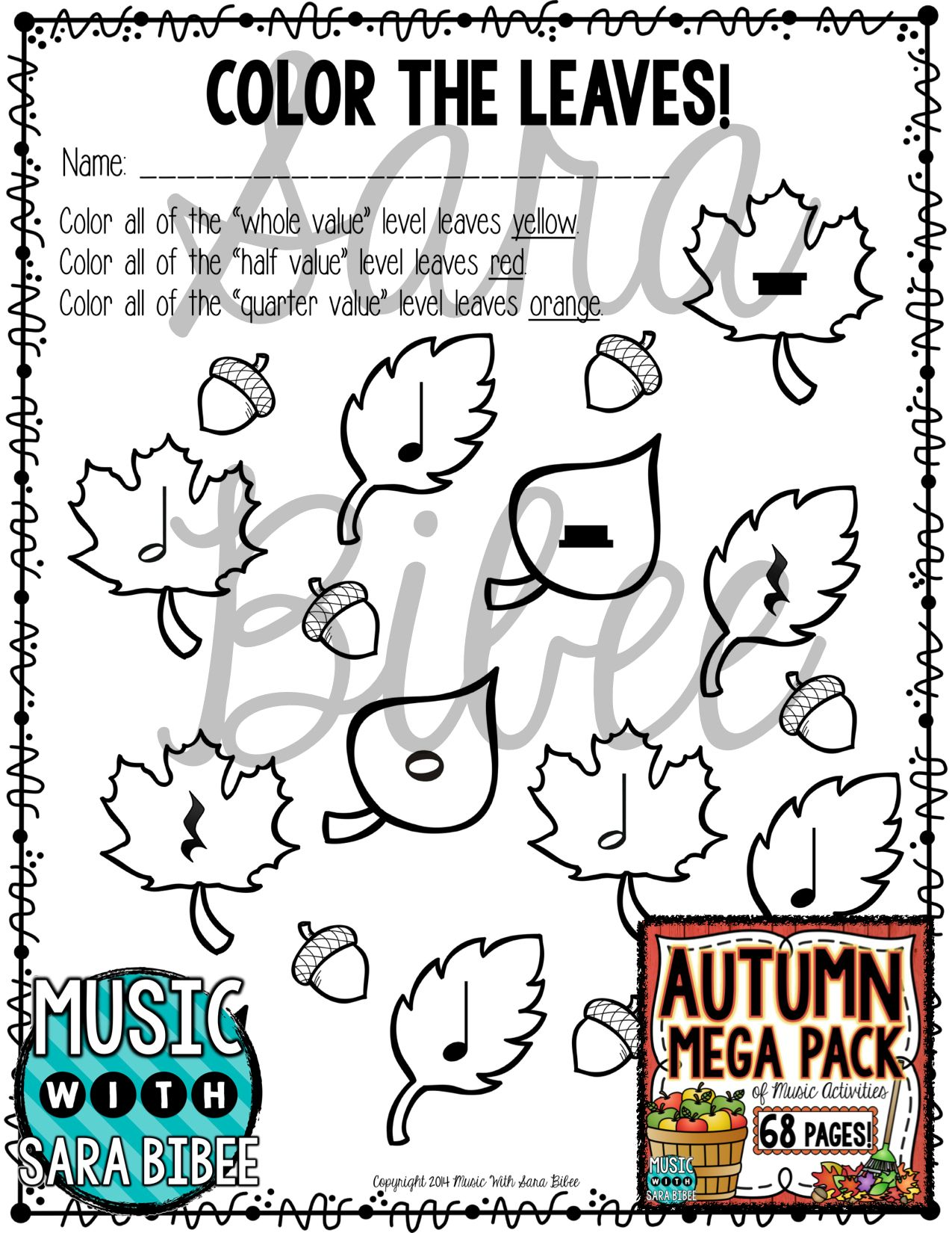 Autumn And Fall Mega Pack Of Music Worksheets With Images
