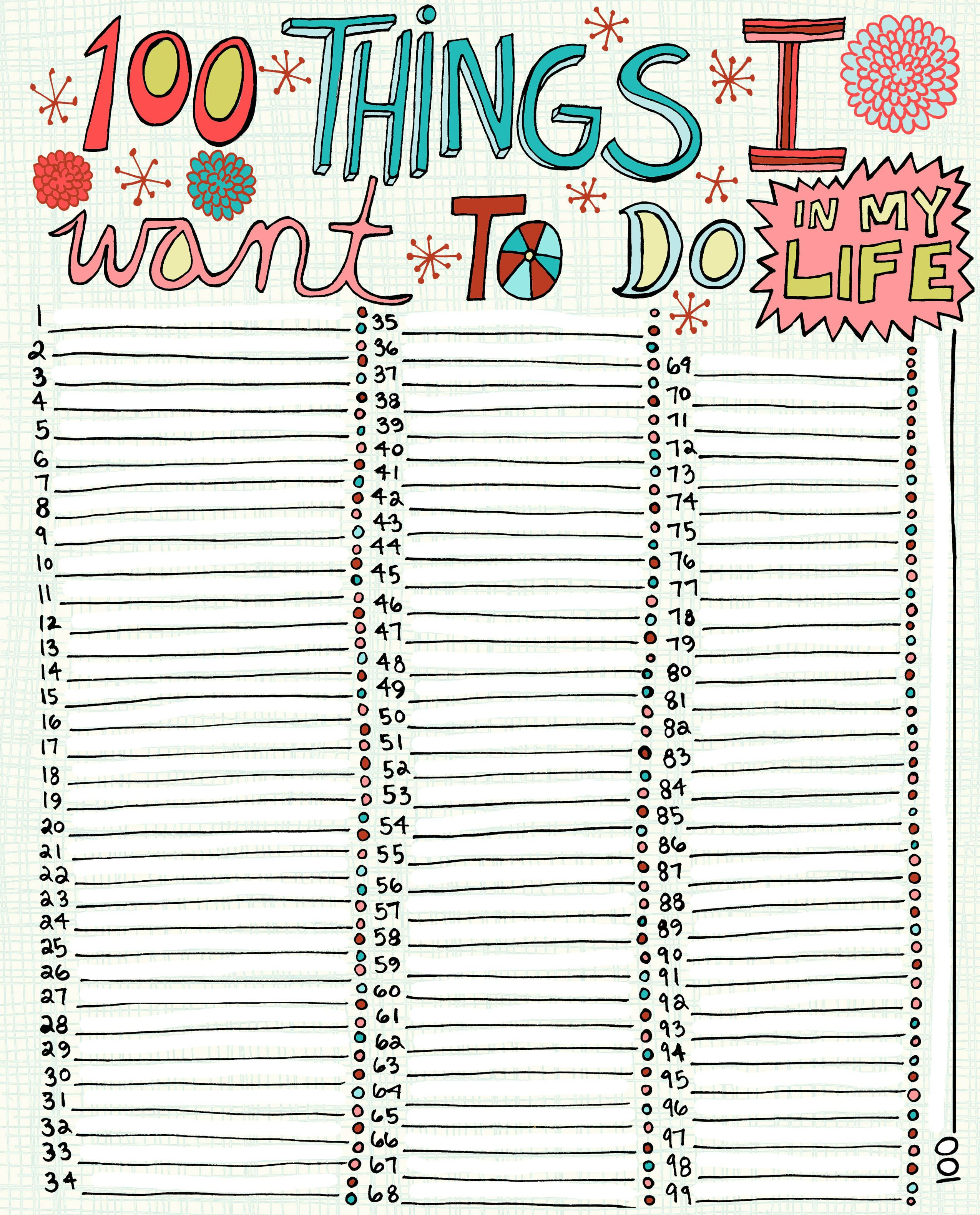 100 things i want to do in my lifejpg 25503162 pixels