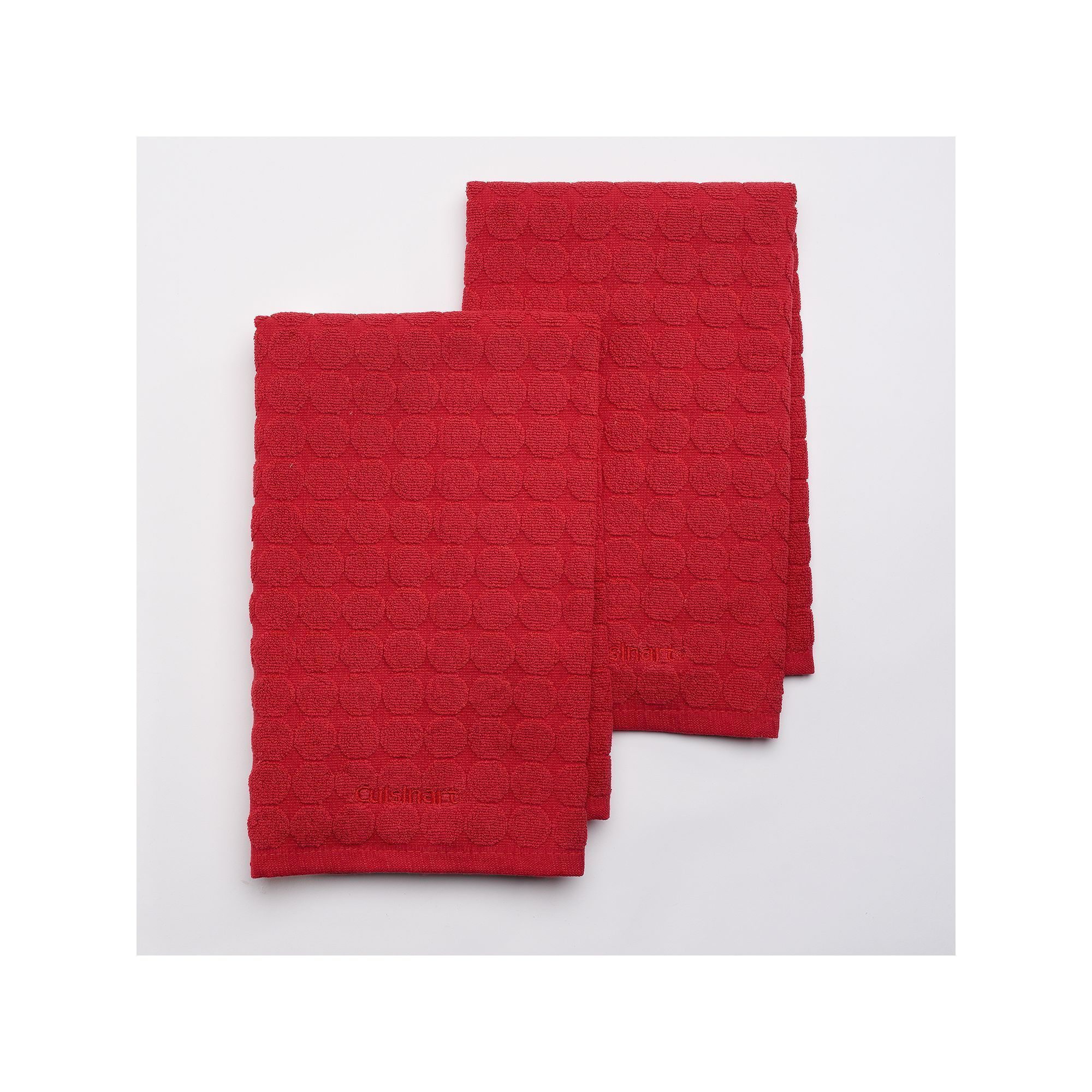 Cuisinart Sculpted Circles 2 Pc Kitchen Towel Set, Red