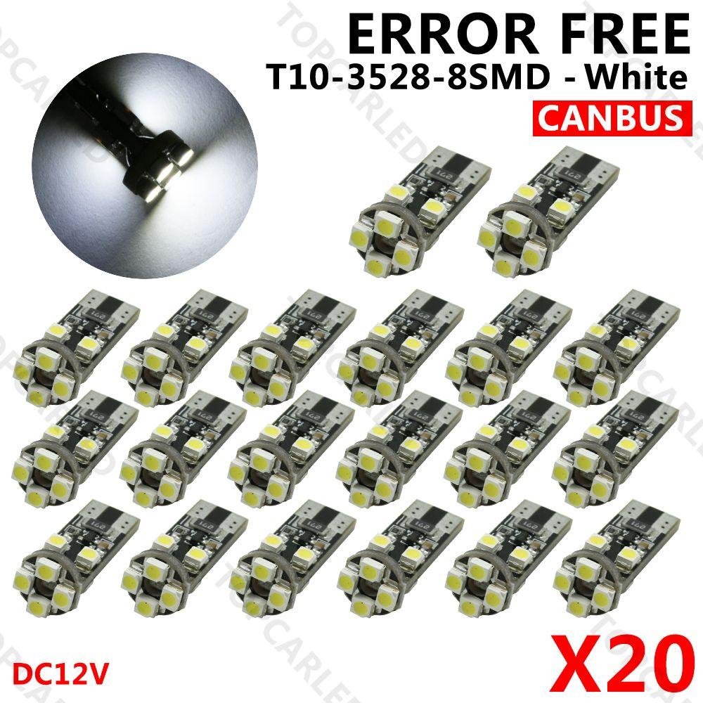 20pcs Lot Canbus T10 W5w Led 8 Smd T10 3528 Led Canbus No Obc Error 194 168 Light Bulb Lamp White Dc12v Light Bulb Lamp Bulb Led