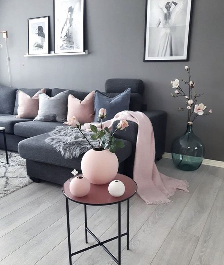 Photo of Love the charcoal and pink look!!!,  #interiordesignlivingroom #interiordesignli…