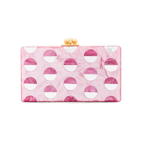 Edie Parker Jean Double Dot Clutch (4.056.865 COP) ❤ liked on Polyvore featuring bags, handbags, clutches, acrylic purse, kiss-lock handbags, lucite handbags, pink clutches and edie parker clutches