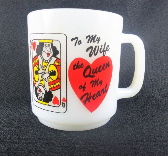 Glasbake Queen of My Heart Mug Coffee Cup by RedThreadRetro
