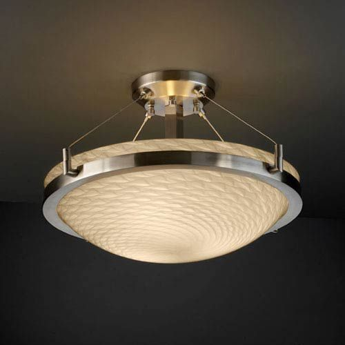 Standard Overall Height (OAH) - 12 inch. Metal screen diffuser included. Bowl uses 4 Stainless Steel Cables. Approx. fixture weight: 25 lbs. - Shade Detail - Weave - Shade Material - Artisan Glass Justice Design Group - FSN-9681-35-WEVE-NCKL   Justice Design Group FSN-9681-35-WEVE-NCKL Fusion Ring 18 in. Three-Light Round Semi-Flush Bowl w/ Ring in Brushed Nickel - Brushed   Bellacor