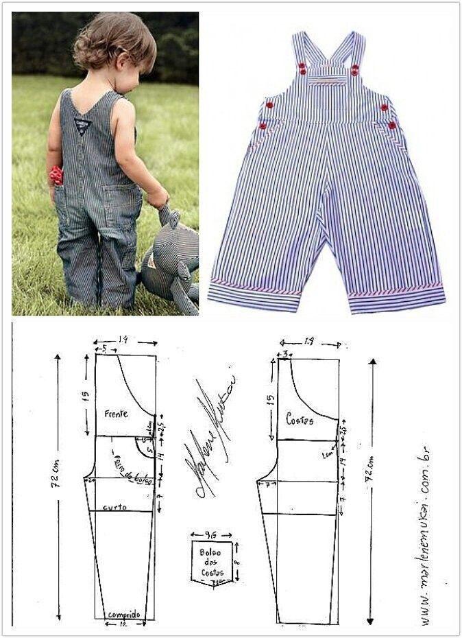 Patrones de costura para hacer un overol para niños | Bebes | Pinterest