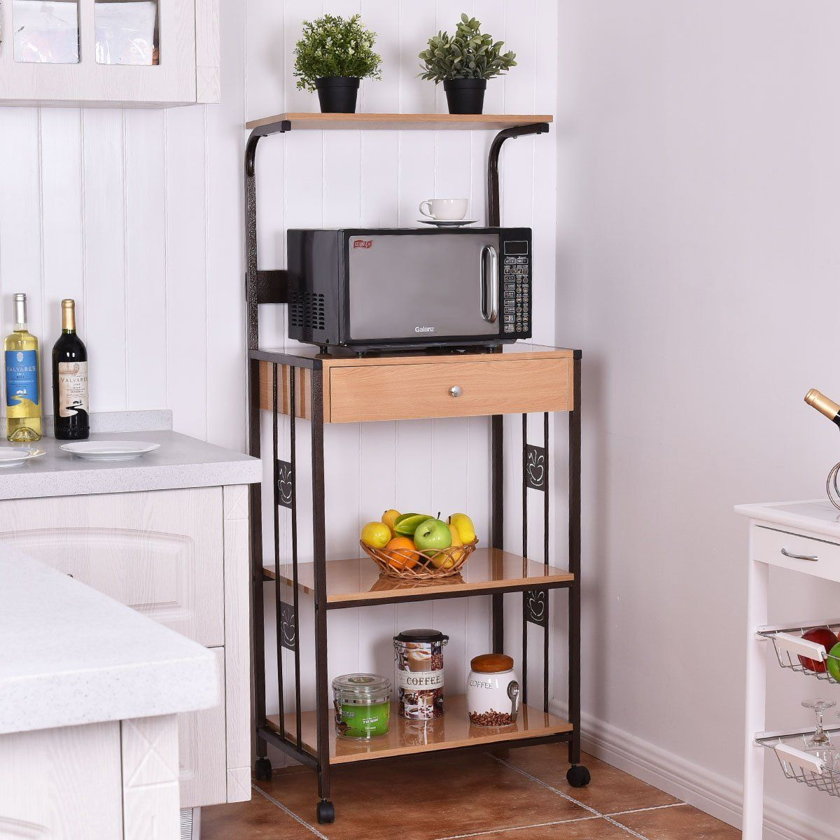 Giantex 59 Bakers Rack Microwave Stand Rolling Kitchen Storage Cart W Electric Outlet 25 2 X15 7 X 1