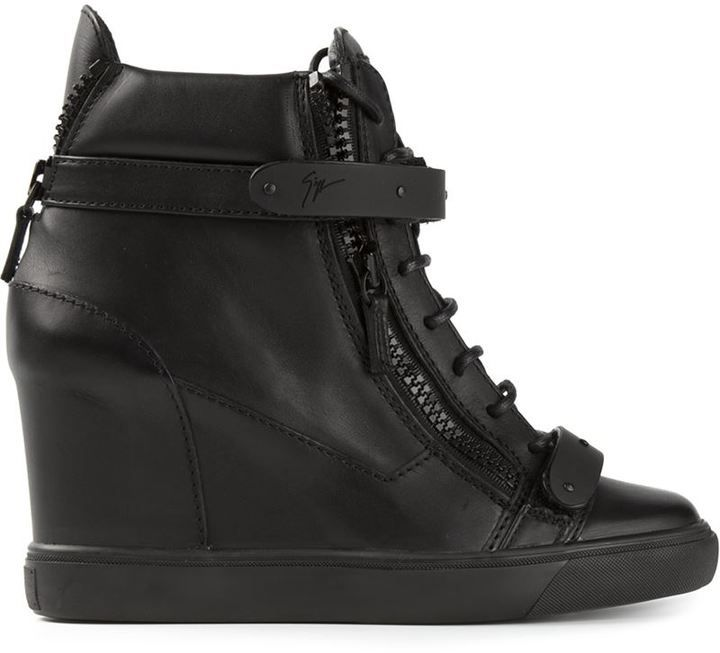 180e9eee18a9 Do not miss this lust-worthy Giuseppe Zanotti Design concealed wedge heel hi -top sneakers.
