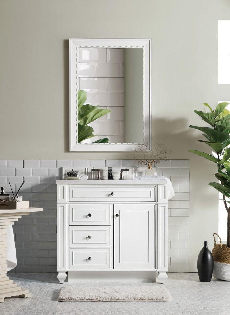"Bristol 5"" Single Sink Bathroom Vanity Cabinet - Cottage White"