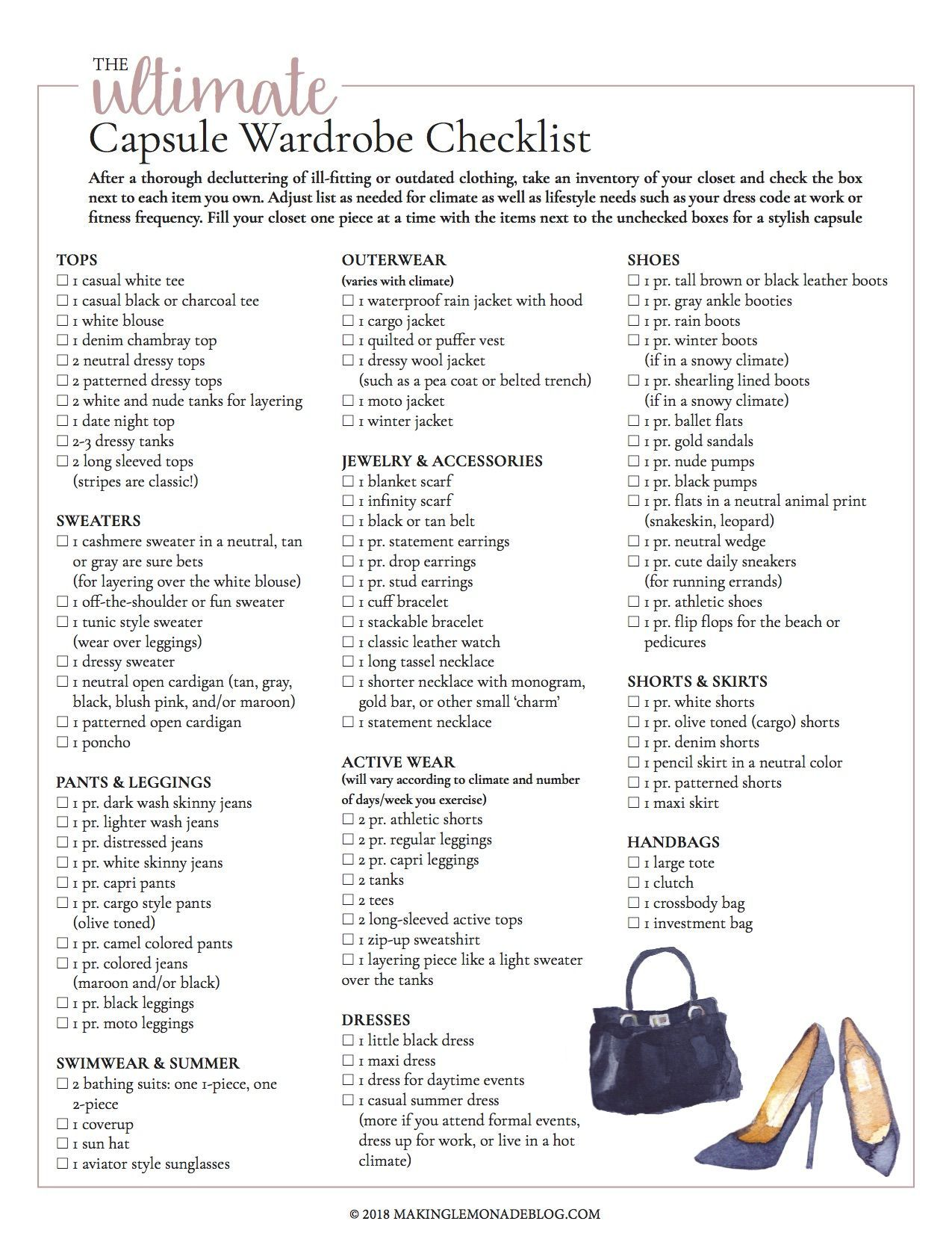 This Free Printable Ultimate Capsule Wardrobe Checklist Is