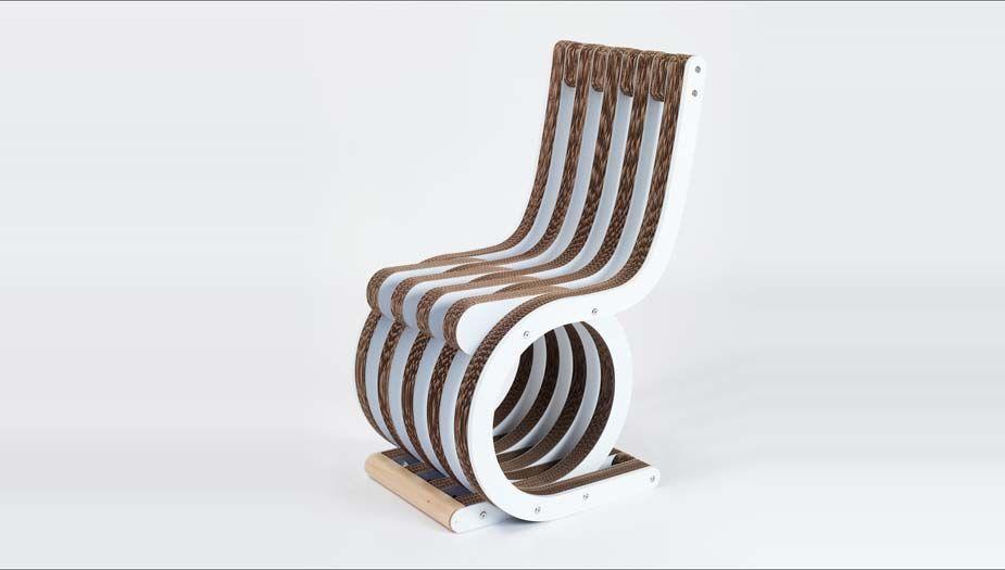 Sedie In Legno Laccate Bianco.Twist Chair Sedia In Cartone Con Finiture In Legno Laccato Bianco