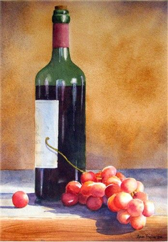 Ann Fullerton Watercolor Fruit Painting Watercolor Fruit Wine