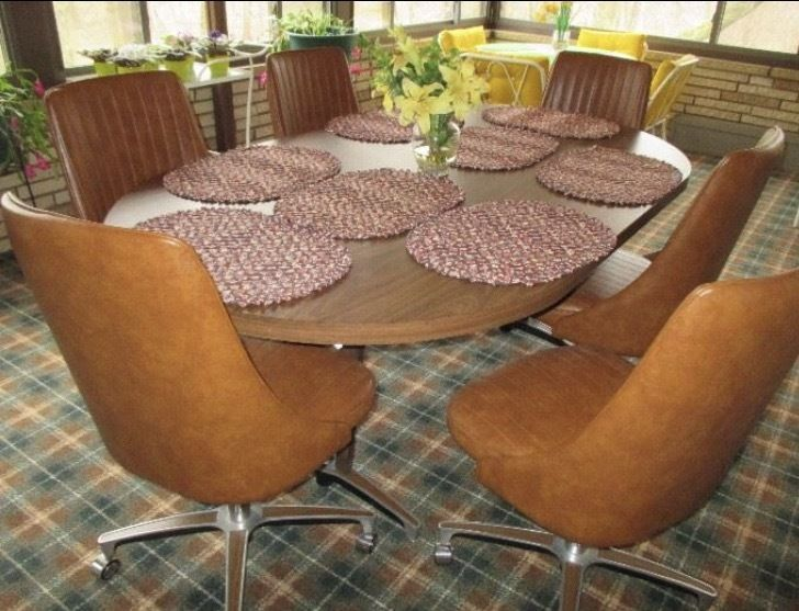 Chromcraft Vintage Mid Century Modern Dinette/Table With 6 Swivel Chairs U0026  Leaf #Chromcraft