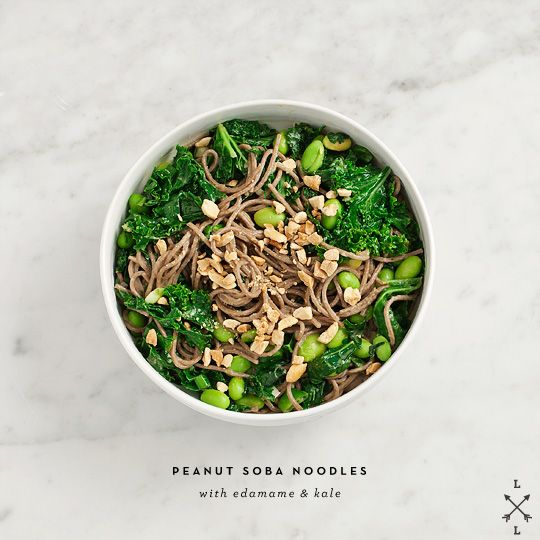 peanut soba noodles with edamame & kale