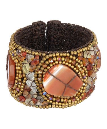 Take a look at this Orange & Brown Stone Cuff on zulily today!