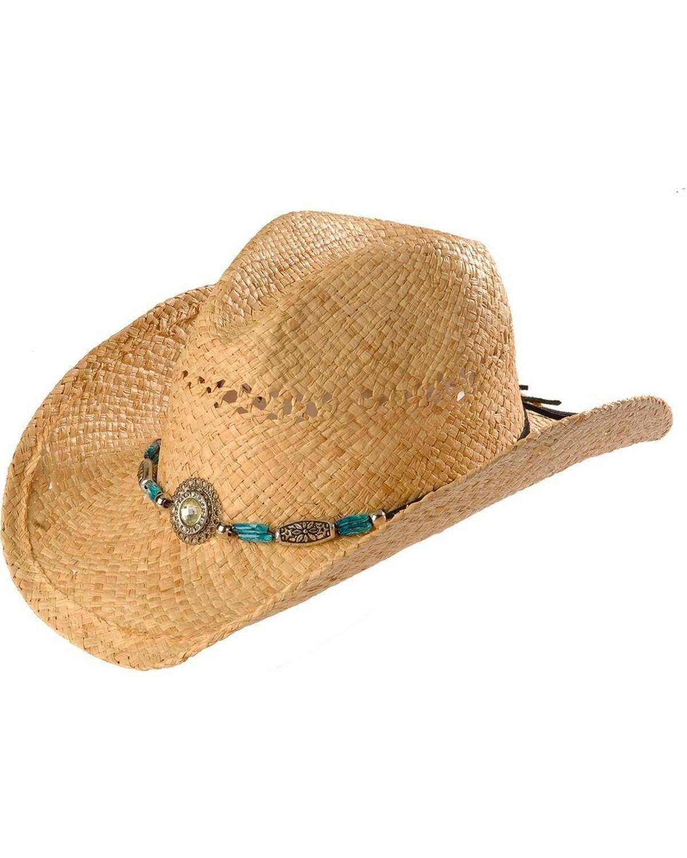 14be2cb314 Blazin Roxx Women s Faux Turquoise Stone Bling Raffia Straw Cowgirl Hat  Natural Medium at Amazon Women s Clothing store  Cowboy Hats