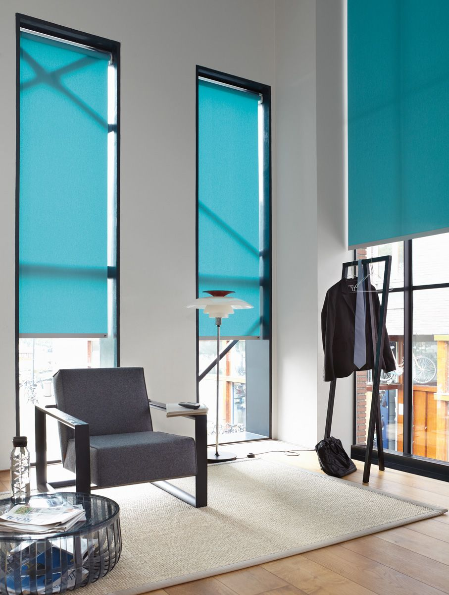 Office Roller Blinds : Luxaflex roller blinds look modern chic in this office