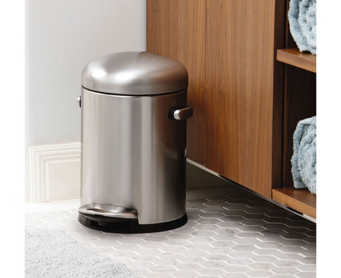 Simplehuman 4 5l Stainless Steel Small Step Trash Can Trash Can Simplehuman Metal Shelving Units Small stainless steel trash can