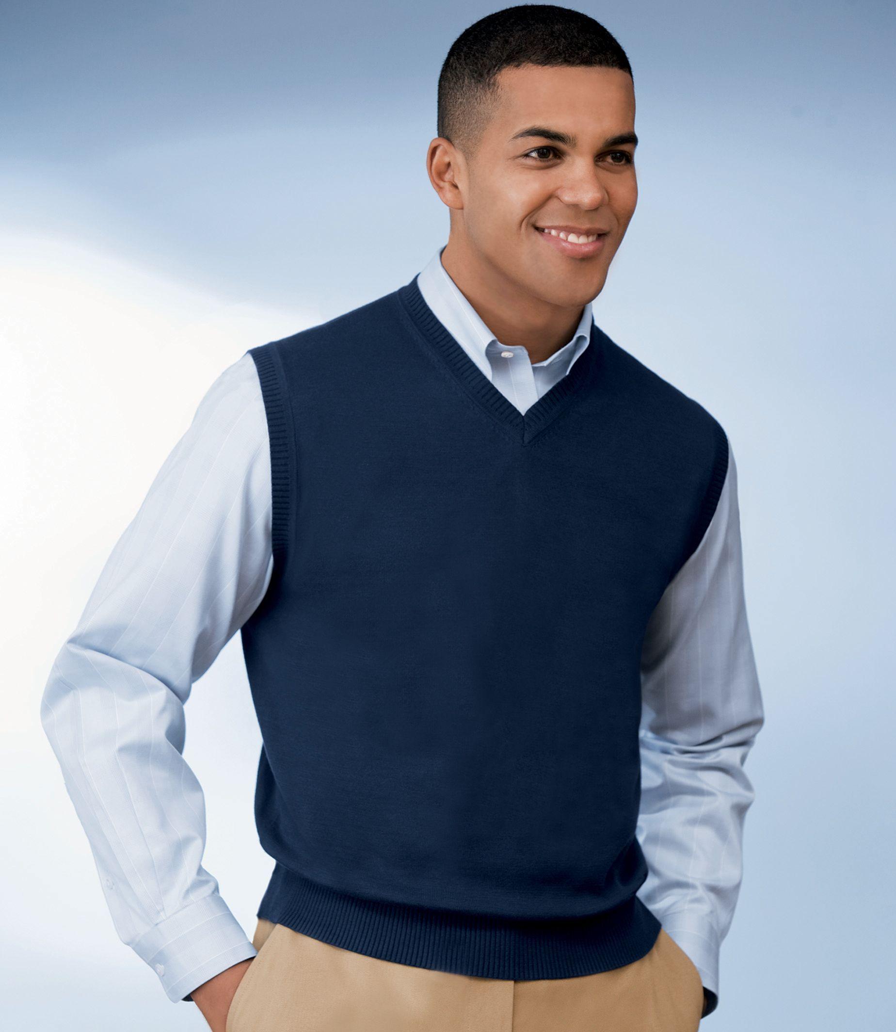 Signature Pima Cotton Sweater Vest Sweater Vest Mens Mens Outfits Suits Clothing