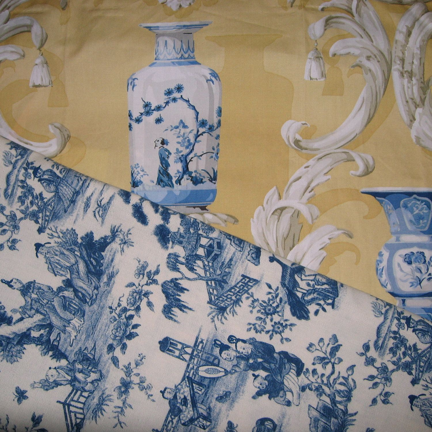 Toile Fabric Blue Toile Fabric Blue Chinese Vases by MartasLoft