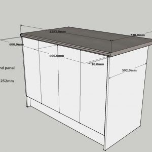 Average Size Overhang Kitchen Island