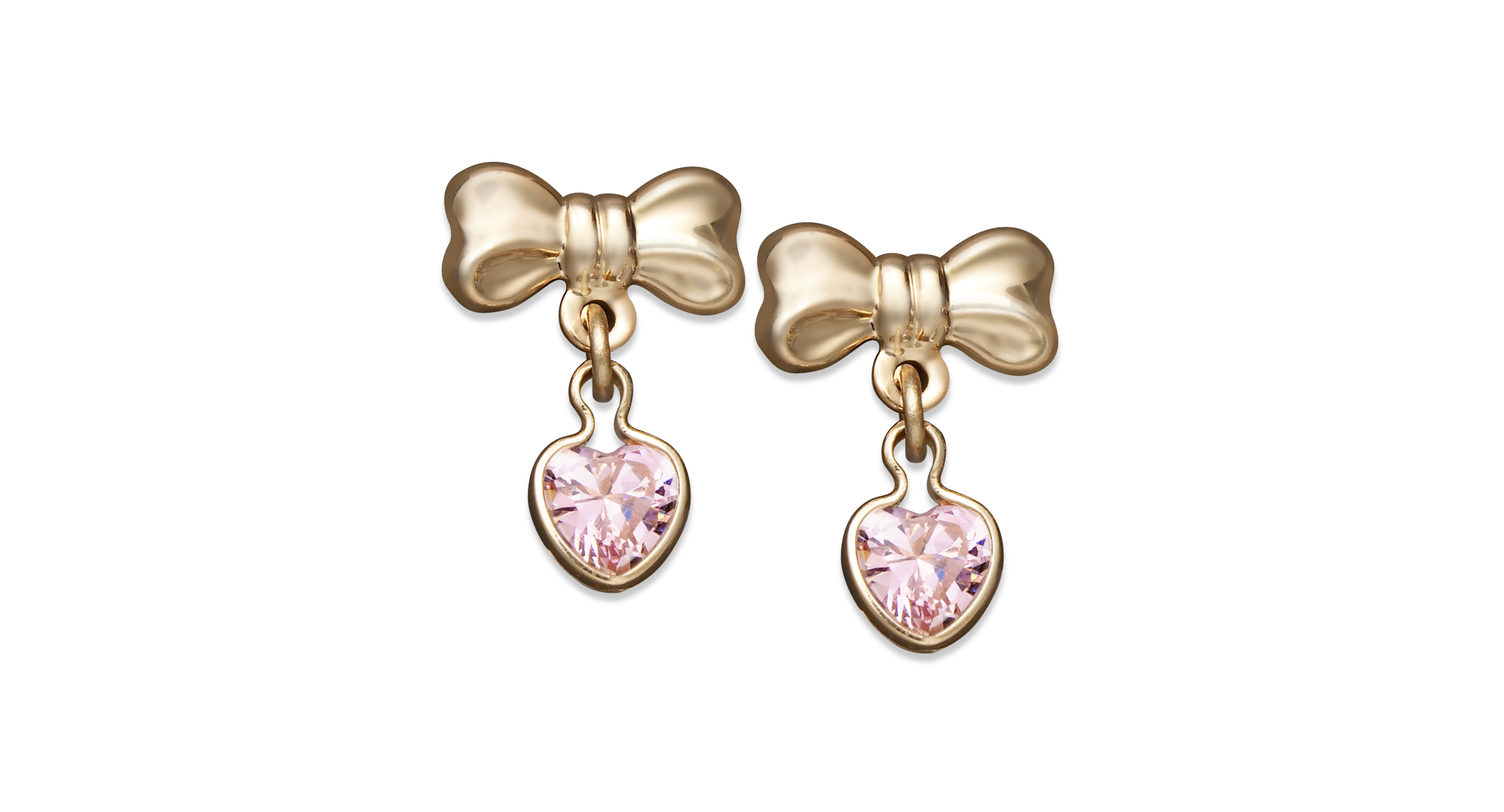 3d7ab9ed7 Children's 14k Gold Earrings, Pink Cubic Zirconia Heart and Bow Drop ...