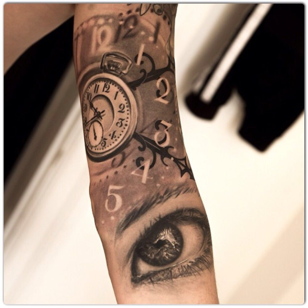 Double Clock Tattoo Time Tattoos Sleeve Tattoos For Women Sleeve Tattoos