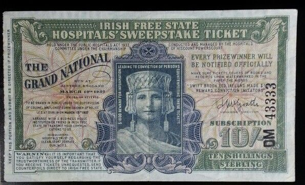 Irish sweepstakes ticket