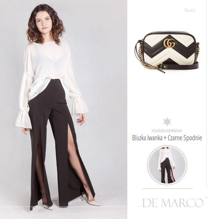 af7ee25443 Śliczny i modny zestaw wyjściowy  D szerokie czarne spodnie i bluzka z  szerokimi rękawami szycie na miarę w De Marco  D sklep online