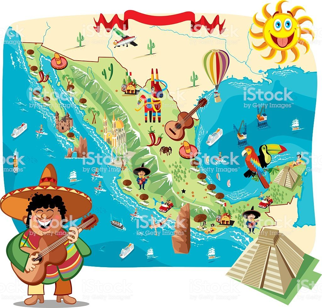 Cartoon Map Of Mexico Mapa De Mexico Produccion Artistica Impresion En Lona