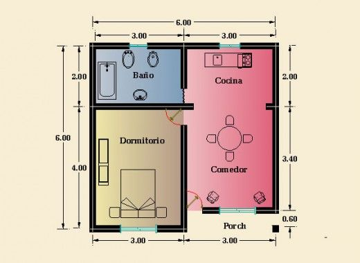 planos de casas 1 dormitorio