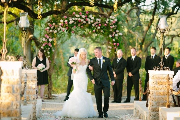 Our wedding day!!   Gorgeous ceremony at Sacred Oaks venue at Camp Lucy by Al Gawlik Photography.