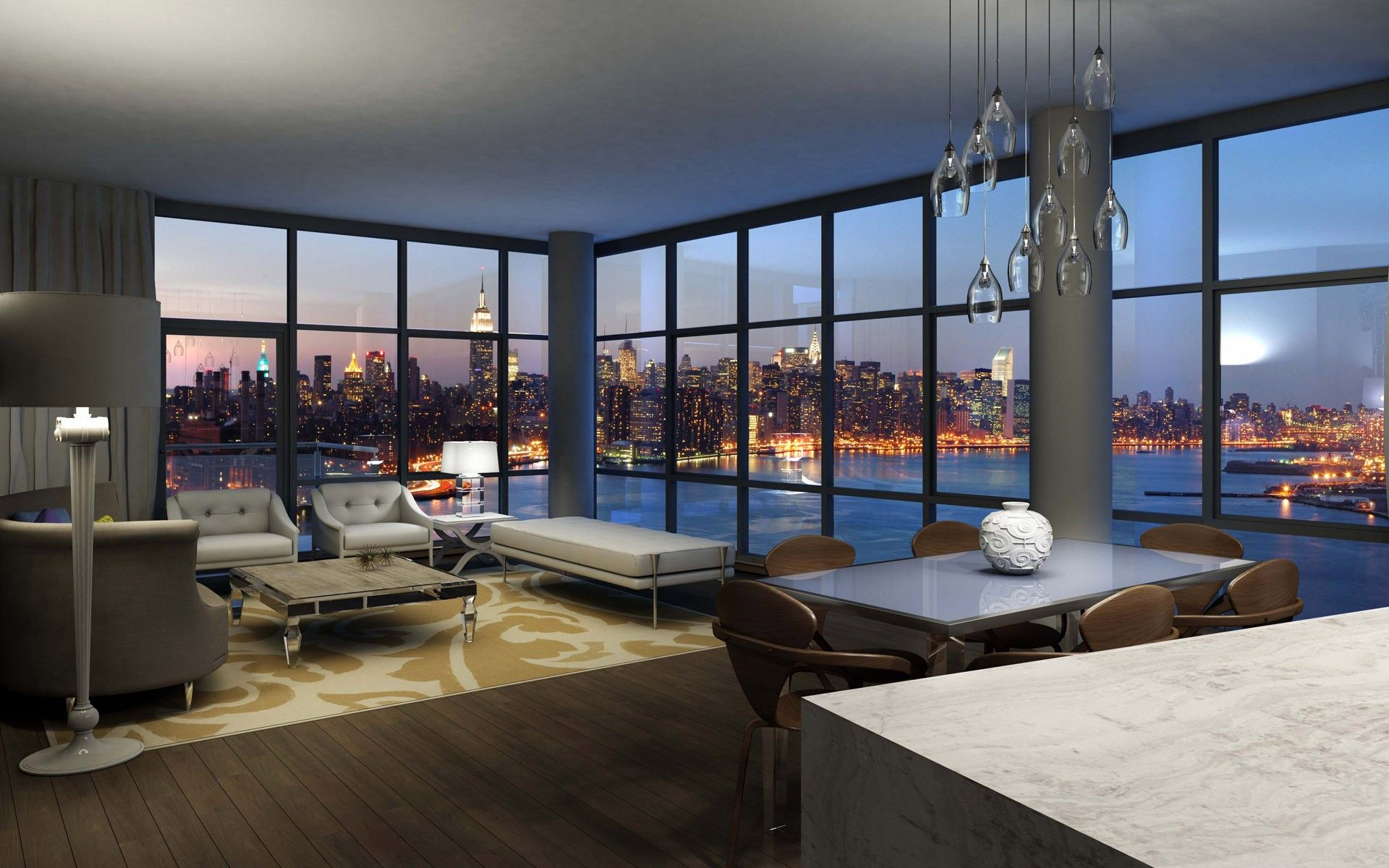 Interior design apartment with city view desktop wallpaper for Top luxury interior designers