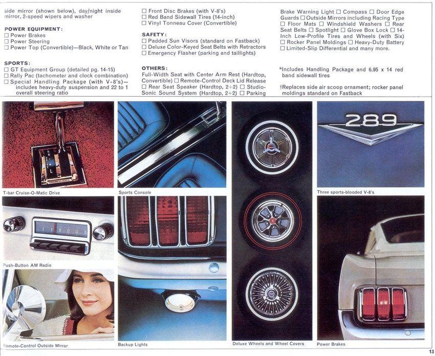 1965 Mustang Promotional Sales Brochure 1965 Mustang Mustang Classic Mustang