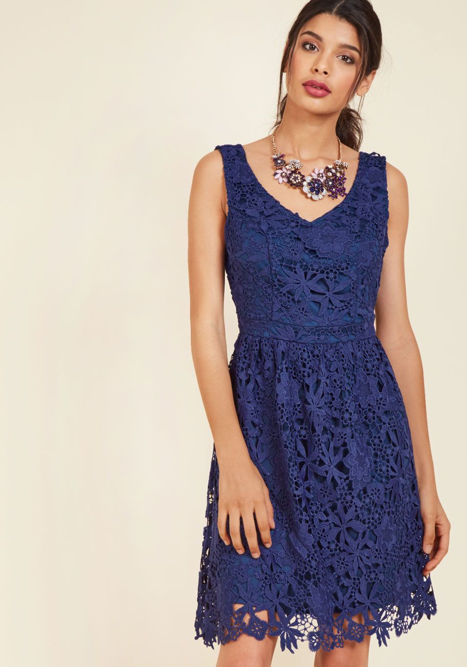 Lace dress navy blue  Dreams of Decadence Lace Dress in Navy  Blue Solid Party Aline