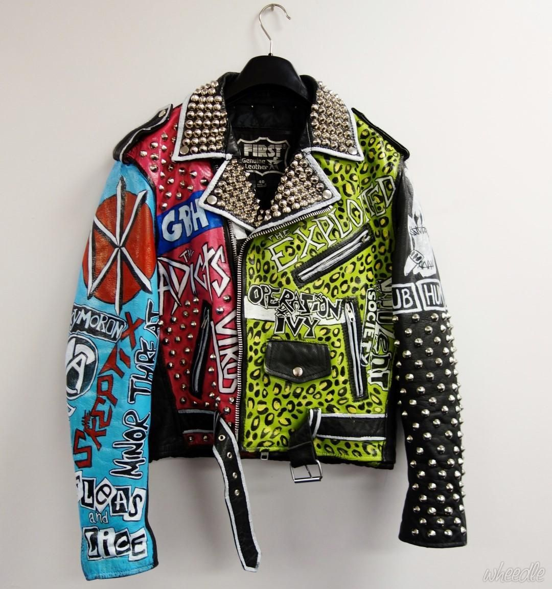 Punk Studded Leather Jacket Original hand painted oneoff