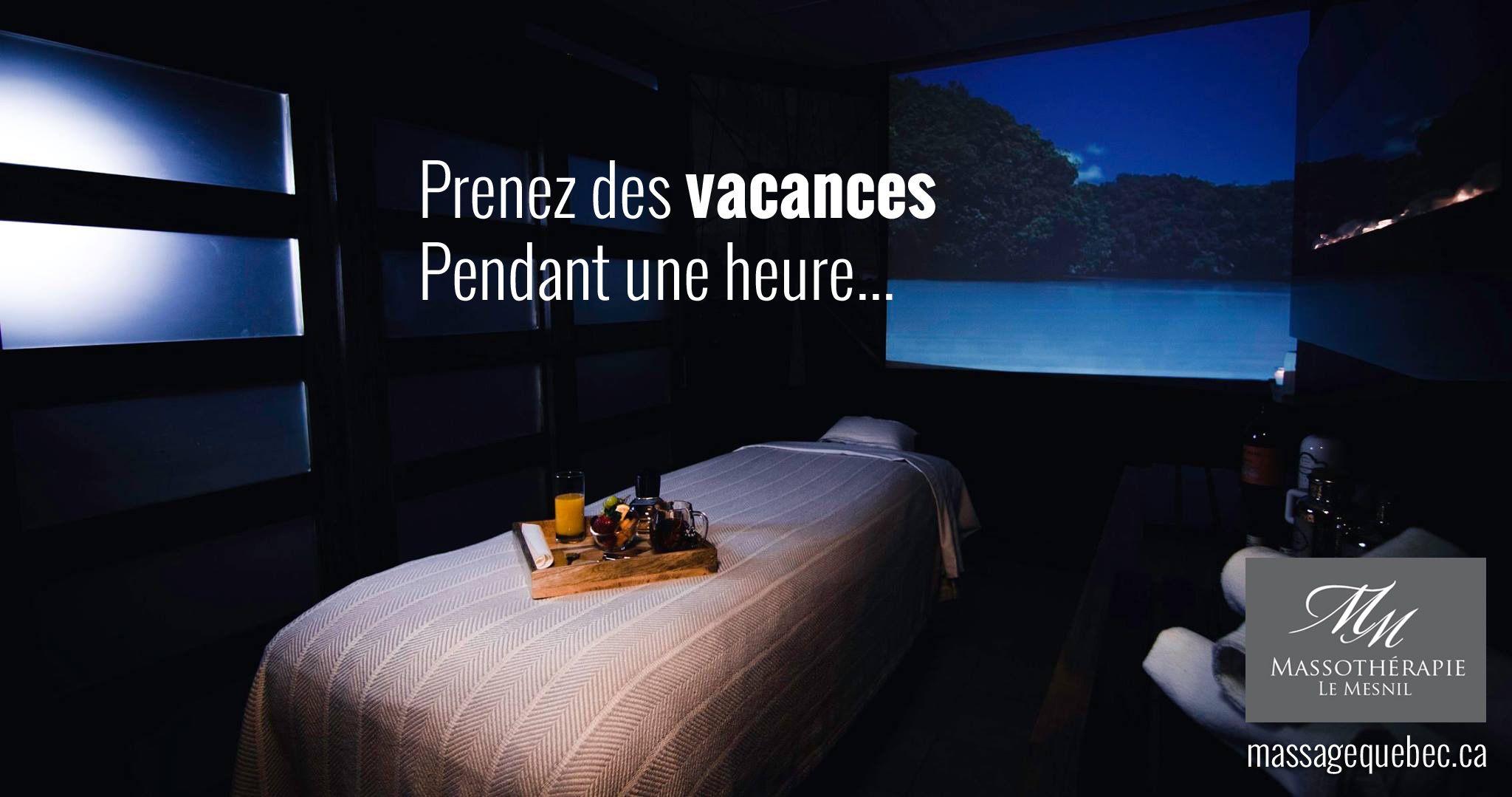Besoin de vacances? (Pendant 1 heure) Appelez-nous au 418-997-9625 ou visitez notre site web http://www.massagequebec.ca pour plus d'information sur nos services
