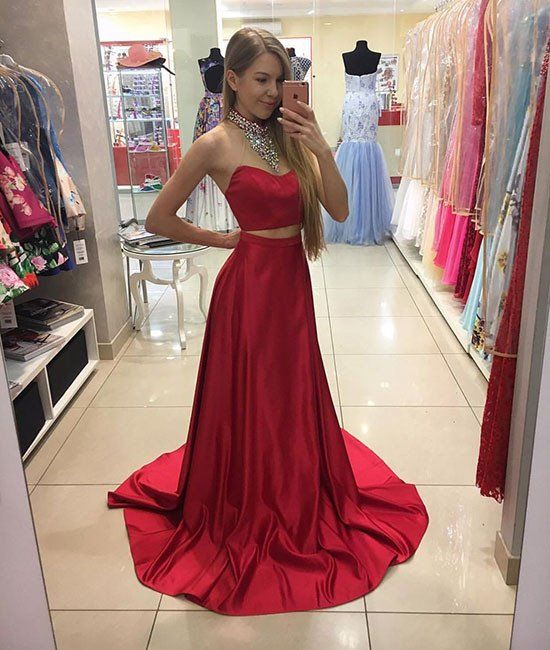 3e9cc9bc576 Red Satin Two-Piece Prom Dress Featuring Beaded Embellished High ...