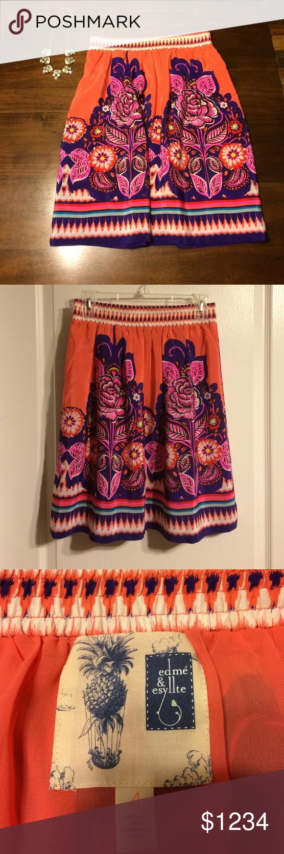 🆕listing-Edme' & Esyllte skirt-LOWEST 🆕listing-Edme' & Esyllte skirt. 100% silk. Elastic waistband. So beautiful. #849 Anthropologie Skirts Mini