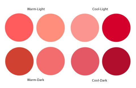 coral - warm, cool, light and dark