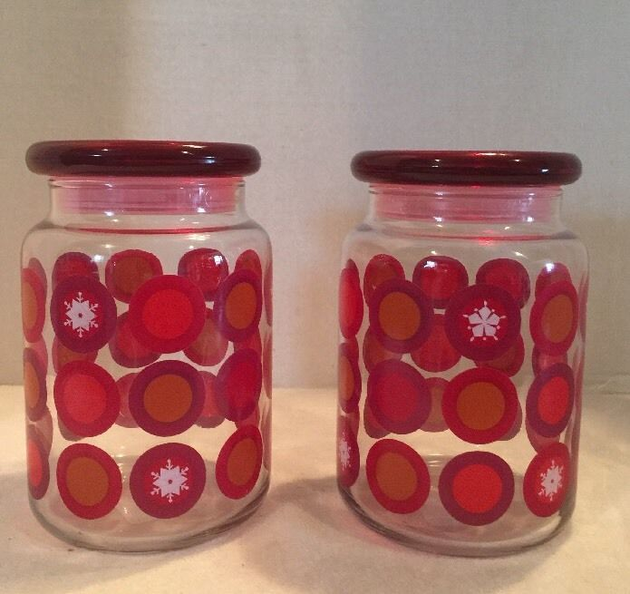Anchor Hocking Christmas Candy Jar Red Snowflake Lid Glass Storage