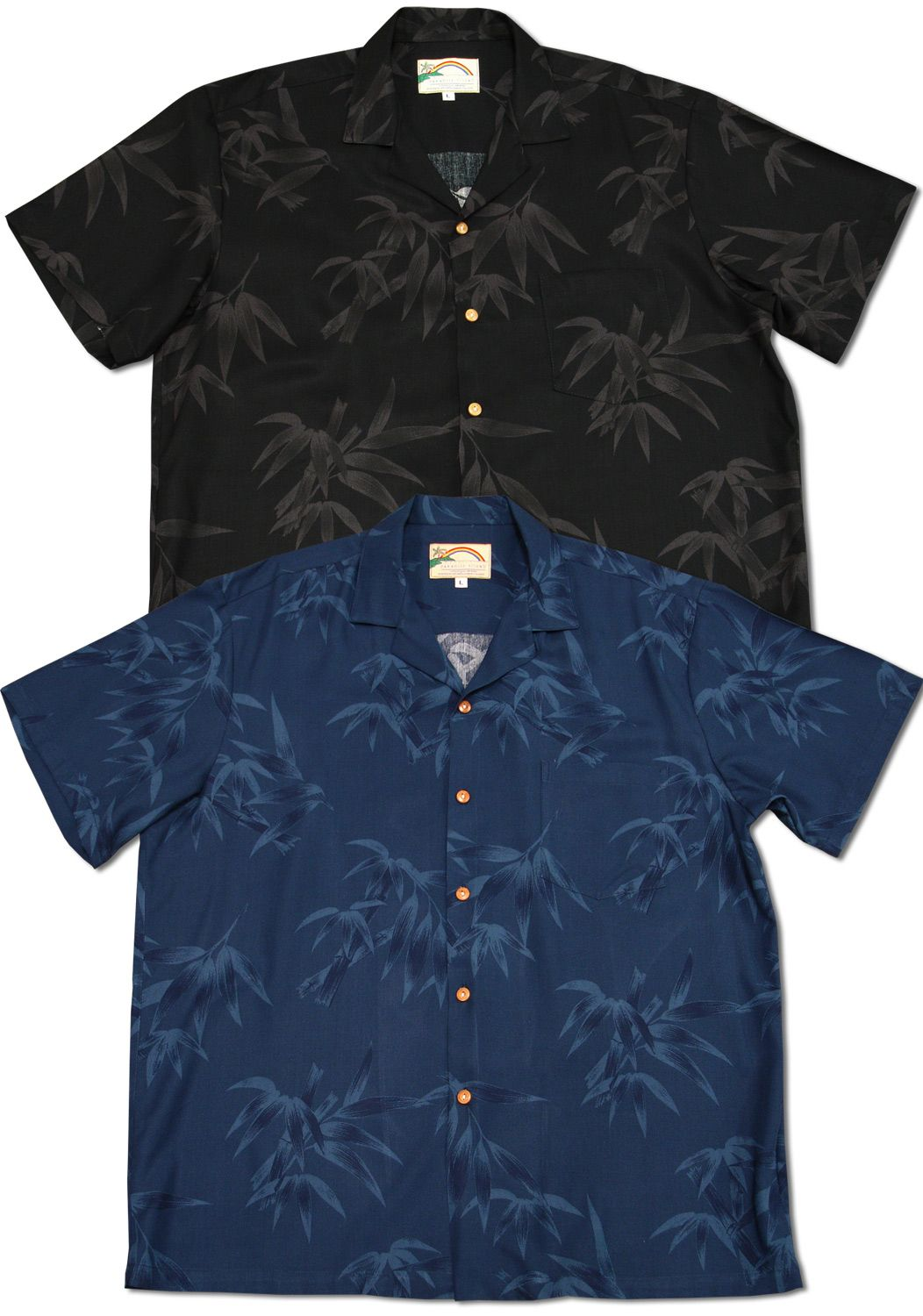 f2ecf0f9 Simple Bamboo Men's Paradise Found shirt created in Wedding White, Navy  Blue and Black. Free shipping from Maui, Hawaii. MauiShirts search box  stock number: ...